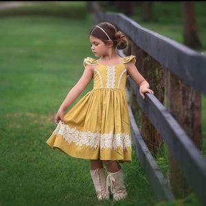 Trish Scully Child Mina Dress Mustard Sz10